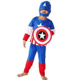 halloween party costumes childrens three piece costumes cosplay 3 7 years boy role playing the avengers captain americ cosplay - Online Halloween Music
