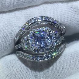 f27056b7542d 2017 Marca de Joyería 5A circón piedra 3-en-1 compromiso anillo de la venda  de boda para mujeres hombres Oro Blanco Lleno Bijoux Femenina