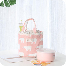 Wholesale new portable cute cartoon lunch bag thermal insulated cold cotton linen picnic totes carry case lunch box bag