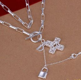 925 Lock Pendant NZ - classic 925 silver cross lock pendant chain lady's necklace (sp3658)