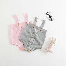 Discount pink overalls for girls - Boutique Ins Infants Knit Romper Jumpsuit Overall Strap Twist Rompers for Baby girl 2019 Ins Hotsale 0-24M BABY