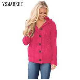 eea5aace30 2018 Autumn Winter Fashion Women Long Sleeve Button-up Hooded Cardigans  Warm Cable Knit Sweater Coat E27652