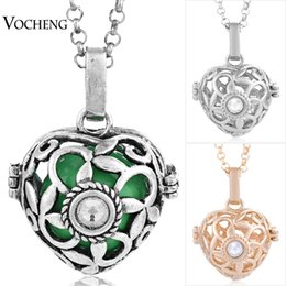 Chinese  Mexican Chime 3 Colors Plated Angel Ball Copper Matal Pendants Necklaces Jewelry with Stainless Steel Chain VOCHENG VA-004 manufacturers