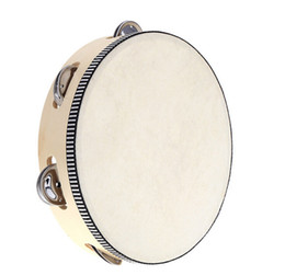 Musical instruMent druMs online shopping - 2015 new arrive Toy Musical Instrument Tambourine inch Hand Held Tambourine Drum Bell Birch Metal Jingles Musical Toy for KTV Party D126