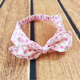 Discount girl hair accessories cherry - Sweet girls Headband ,Pink Heart cherry printed princess Knot baby girls hair accessory ,Turban knot baby headband for k