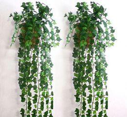 Fake Vine Foliage Canada - 2.5 M long Artificial Ivy Leaf Garland Plants Vine Fake Foliage Flowers Vine Home wall Decor 30m lot free shipping