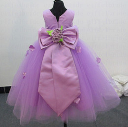 Gowns For Flower Girls NZ - Custom-made Cheap Flower Girls Dresses with Beautiful Jewel Neckline Lilac Satin and Tulle Pretty Big Bowknot Back Pageant Gowns for Girls