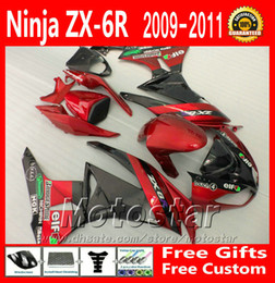 Chinese  Free shipping fairing kit for Kawasaki ZX6R 09 10 11 12 ZX-6R 2009 - 2012 ZX636 red black motorcycle fairings set XC50 manufacturers