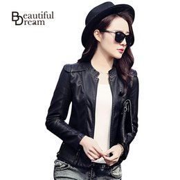 Wholesale-Korean Black/Wine Red Autumn Leather Jacket Women  Faux Soft Leather Jackets PU Zippers Coats Long Sleeve Motorcycle Coat
