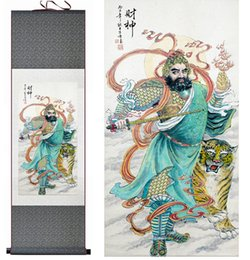 $enCountryForm.capitalKeyWord NZ - 1 Piece The God Of Wealth Home Office Decoration Chinese Scroll Silk Wall Art Poster Picture Painting For Living Room
