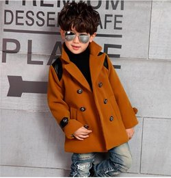Manteaux Pour Garçons En Gros Pas Cher-Gros-2015 Mode Manteaux d'hiver Garçons Casual Vestes Nouvel enfants Laine longue Blends Vent briseur Coats Handsome 3 Couleurs