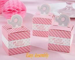 Discount new baby decorations 2016 New Arrival Cute Baby Shower Favor box with Little Peanut Elephant Candy box For Baby decoration Favor box and baby Gifts 250pcs lot
