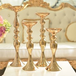 mental gold mental tall candle holders for weddings