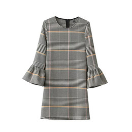 $enCountryForm.capitalKeyWord UK - Autumn And Winter Fashion Dress With Round Neck Loose Mandarin Sleeve Women Dresses Tartan Design Ladies Petticoat XS-L Size
