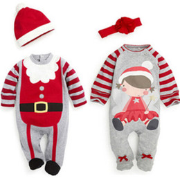 Santa Claus Girls Jumpsuit Canada - Hot Sale Babies Rompers Xmas Santa Claus Toddler Baby Boy Girl Jumpsuit+Hat Headband Outfits Christmas Perfect Gift For Girls Sets Wholesale