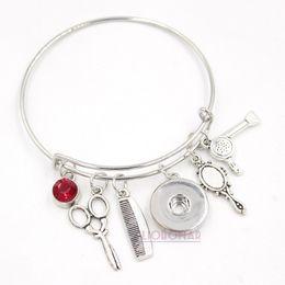 Charm braCelets sCissors online shopping - Snap Jewelry Hair Stylist Bracelet Dryer Mirror Scissors Comb Charm Snap Button Bracelets Wire Expandable Bangle Bijoux Pulsera