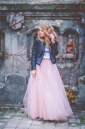 $enCountryForm.capitalKeyWord NZ - Pink Long Skirts spring Summer Tutu Tulle high waist skirt Puffy women skirt Party Dresses For Women Personalized casual skirt Cheap