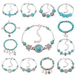 online shopping New Women Bohemian bracelets elephant butterfly peace Turquoise Beaded silver plated handmade Charm Bracelet Jewelry Gifts Accessories hot