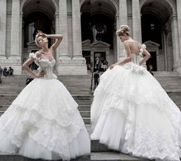 Lace Up Pnina Tornai Canada - Pnina Tornai Ball Gown Wedding Dresses Lace Applique One Shoulder Lace-up Back Sweep Train Tulle Tiers Beads Bridal Gown