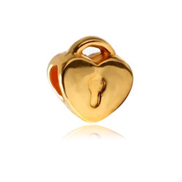 necklace gold designs for women 2020 - Replacement Alloy Charm Bead Lock Heart Shape Gold Plated Fashion Women Jewelry Stunning Design European Style For Pando