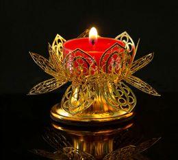 lotus light buddha 2019 - Butter lamp socket for light Buddha lamp oil lamp gilded candlesticks Lotus multifunction hollow filaments butter lamp h