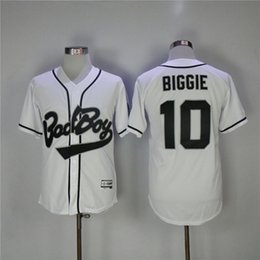 Barato Bad Boy Jersey-Men's Bad Boy Movie Baseball Jerseys 10 Biggie Stitched High Quality Free Shipping Jerseys de beisebol
