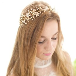 $enCountryForm.capitalKeyWord UK - Vintage Wedding Bridal Pearl Headband Ribbon Crystal Rhinestone Crown Tiara Flower Hair Band Accessories Jewelry Gold Party Prom Headdress