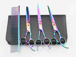Pet Hair Salon Canada - 7'' Hairdressing Scissors 62HRC JP 440C Stainless Steel Pet Hair Cutting Thinning Shears 4Pcs Set With Bag Plated 5 Colors