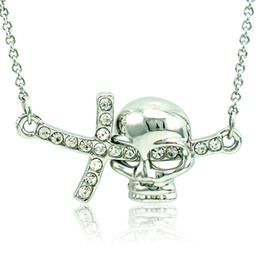 $enCountryForm.capitalKeyWord Canada - 2016 Brand New Pendant Necklace Fashion White Rhinestone Skull Charms Silver Plated Necklace For Men Jewelry QRXL0034