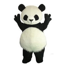 Barato Panda Suit Tamanho Adulto-Crazy Sale @ Long Hair Panda Bear Animal Adulto Tamanho trajes de mascote Fancy Party Dress Suit + EPE Head