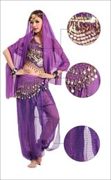 Barato Dança Do Ventre Traje Conjunto Azul-2015 NOVO Bollywood Indian Costume Set 3PCS Beads Bells Top Shinny Sequin Balloon Bloomers Calças Belly Dance Dresses Women Dress 8 Colors