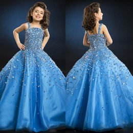 Robes De Fleurs Bleu Royal Pas Cher-So Beautiful Luxury Crystal Girl Girl Flower Girl Robes de style officiel 2016 Blue Spaghetti Floor-length Backless Little Kids Ball Gow