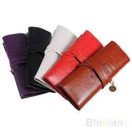 China Vintage Retro Luxury Roll Leather Make Up Cosmetic Pen Pencil Case Pouch Purse Bag for School WJ010 supplier leather rolling case suppliers