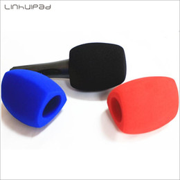 mic foam UK - Free shipping Microphone Windscreen Foam Mic Cover Sponge windshield for Handheld Interview microphone inner size 40*77mm 3 color available