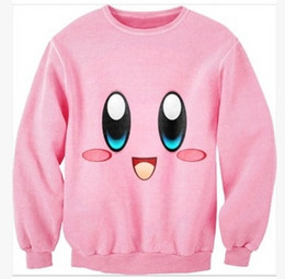 3DISWAG Europe and Harajuku style kirby cute cartoon couple thin section  sweater