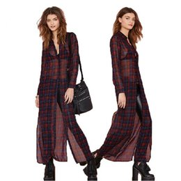 Vêtements Femme Britannique Pas Cher-protection britannique Style de Blusas High Street Fashion New Sun femmes Blouses Turn-down col longues Plaid Sexy minces Blouse Vêtements Femme