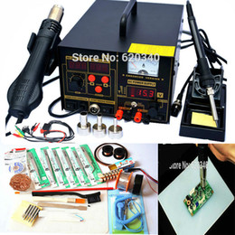 Discount rework hot air solder Free shipping 3in1 digital Hot air gun soldering station rework station with power 220V 110V 700W 909D Upgrade Edition,Many gift order<$18no