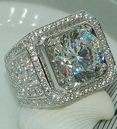 Voller Stein Diamant Ringe für Finger Micro Pave Handsome Jungen Sterling Silber Trauringe für Männer Größe 8-13 im Angebot