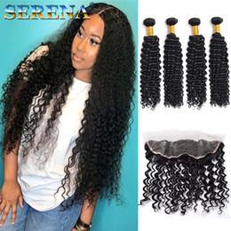 $enCountryForm.capitalKeyWord Australia - 13*4 Lace Frontal Closure 7A Grade Peruvian Virgin Hair Deep Wave 4 Bundles Frontal And Bundles With Frontal Closure Cheap 100% Human Hair