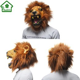 Visage Énervé Pas Cher-1 Pcs Réaliste Angry Lion Tête Latex Masques Masque Animal Complet Masque Effrayant Halloween Partie Cosplay Prop Mascarade Déguisements