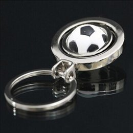 wholesaler footballs Canada - New Zinc alloy 360 degree rotation football basketball golf keychain sports games souvenirs keychain European Cup souvenir keychains