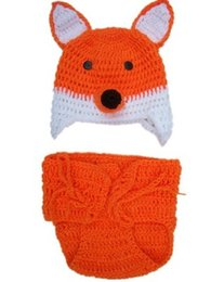 Vêtements En Bétail À Renard Pas Cher-Haute qualité bébé enfant en bas âge vêtements de noël nouveau-né photographie accessoires costume infantile knit combinaisons orange fox chapeau longue queue costume