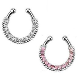 Body Nose NZ - 10pcs Crystal Nose Ring Piercing Hanger Clip On Body Jewelry Nose Hoop fake faux septum ring for septum jewelry Free shipping N0016