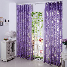 Wine curtains online shopping - New arrival Sheer Curtains Luxury Stripe Tulle Volie Organza Curtains Violet Coffee Wine Red purple Window Trimming