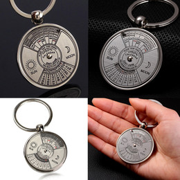 $enCountryForm.capitalKeyWord Canada - Mini Perpetual Calendar Keychain Ring Unique Metal 50 Years Calendar Keyring Key Chain BHU2