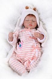$enCountryForm.capitalKeyWord Canada - Wholesale- 22inch 55cm Soft Silicone Reborn Baby Realistic Sleeping Girl Doll Playhouse Toy Kids Educational Treats Closed eyes