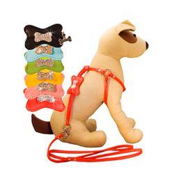 MediuM rhinestone dog harness online shopping - 20pcs Fashion Rhinestone Bone Charm Leather Dog Harness and Leash Set size for Small Medium Dogs