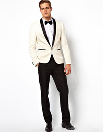 Ivory Linen Suit Canada - High Quality Custom made Handsome wedding Suits Ivory Tuxedos Formal Suits Blazer Business Wears Groomsman suits (Jacket+Pants)