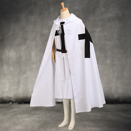 Cosplay Medieval Canada - Medieval Templar Knights Cloak Set Men's Cosplay White Warrior Larp Costume Tunic CAPE Black Cross Print Ouitfit