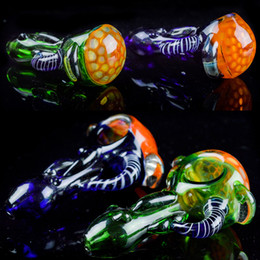 Wholesale Heady Spoon Pipes quot inch Glass Pipes Honeycomb Dab Pipe Colored Oil Tobacco Pipes for Smoking High Quality Herbal Hand Pipes